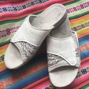 Shoes - merrell beige slip on sandal [foam footbed]
